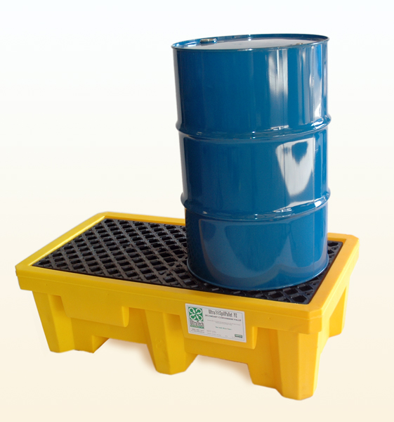 Ultratech 1011 Drum Spill Pallet With Drain Yellow 2 Drum
